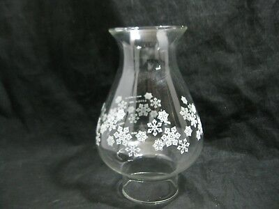 Vintage Pyrex Hurricane Oil Lamp Globe/Chimney/Shade Snowflake Design