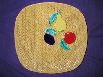 """yellow MAJOLICA PLATE weave fruits square 10.5"""" Germany"""