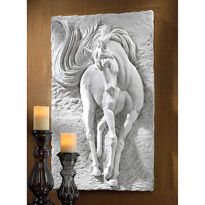 "Design Toscano 36"" Equine Grandeur Horse Wall Sculpture With Faux Stone Finish"