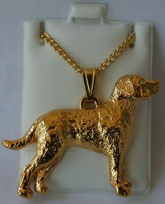 Chesapeake Bay Retriever Dog 24K Gold Plated Pewter Pendant Chain Necklace Set