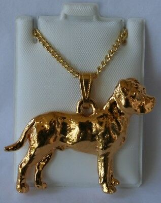 Pit Bull Terrier Uncropped Dog 24K Gold Plated Pewter Pendant Chain Necklace Set