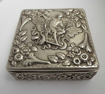 Wonderful Large Decorative English Antique 1900 Solid Sterling Silver Table Box