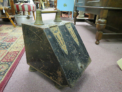 Antique English Metal Coal Scuttle, Hod, Or Coal Bin