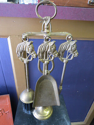 Vintage Brass 5-Piece Horse Head Stove Or Bedroom Fireplace Set