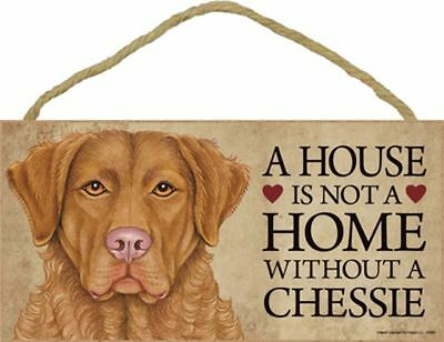 A House Is Not A Home CHESSIE Chesapeake Bay Retrievere Dog 5x10 Wood SIGN