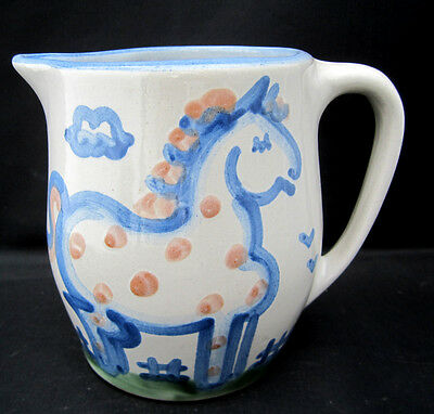 24 oz Pitcher M A Hadley Pottery Louisville Whimsical Blue Horse Pink Dots