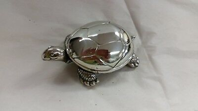 Reed & Barton Silverplate Musical Turtle Music Box Wind Up Brahms Lullaby