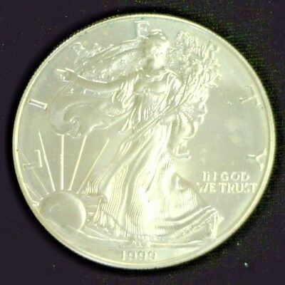 1999 American Silver Eagle Gem Bu Some Toning     Reduced 3/11/19   (4639)