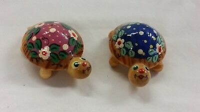 Set/2 Tiny Lacquered Painted Floral Design Wooden Turtles Flowers Wood