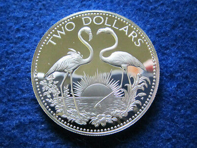 1978 Bahamas Gem Silver Proof Two Dollars - Flamingos - Free U S Shipping