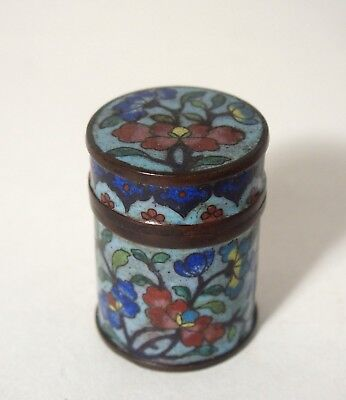 Fine antique Chinese 19th century cloisonne round box and cover