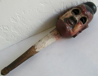 Fine Old Bali Indonesian Hand Carved Painted Wood Ventriloquist's Dummy Head
