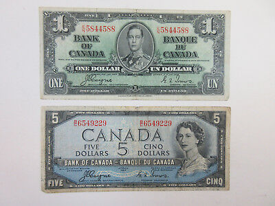 Canada. 2 Notes $1 1937 Coyne Towers, VF; $5 1954 Coyne Towers Devil Head VF