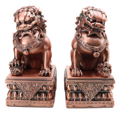 "Feng Shui LARGE 8.5"" Rose Gold Fu Foo Dog Guardian Lions Wealth Protection~ USA"