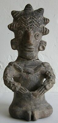 Antique PreColumbian Mesoamerican Clay Pottery Mushroom Shaman Statue