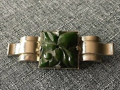 Vintage  ART DECO 1930's GREEN CARVED BAKELITE Silver Pin Brooch TESTED