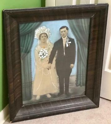 Vintage Antique Tiger Wood Frame With Hand Painted Marriage Photo Pic Glass