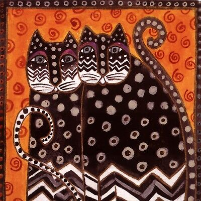 Laurel Burch....exotic Art Deco Cats,birthday Happiness Times Two,greeting Card