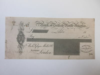 Bank of British North America PROOF Check in UK Sterling Pounds ca.1870-1880 XF