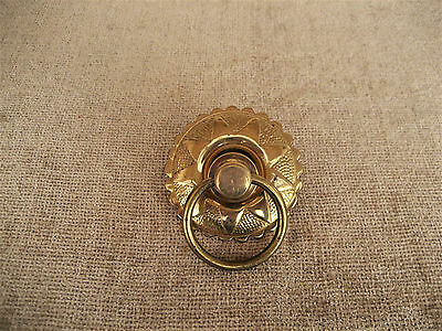 Vintage Brass Ornate Round Plate Ring Pull Handle Drawer Door Hardware