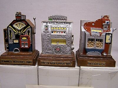 Set Of 3 Harrah's Limited Edition Miniature Replica Slot Machines