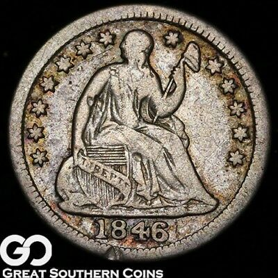 1846 Seated Liberty Half Dime, Super Scarce Low Mintage Choice VF++ Key Date!