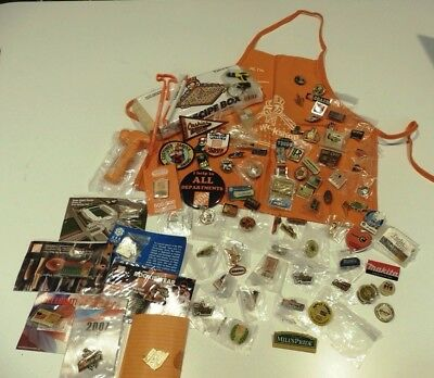Lot of 80 - HOME DEPOT Pinbacks PINS + giveaways - all different