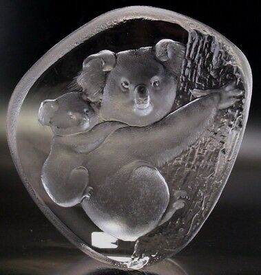 Mats Jonasson Art Glass Signature Collection Koala Mom & Baby Signed Numbered