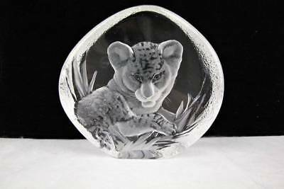 Mats Jonasson LION CUB Swedish Crystal Exotic Wildlife Collection Signed Number