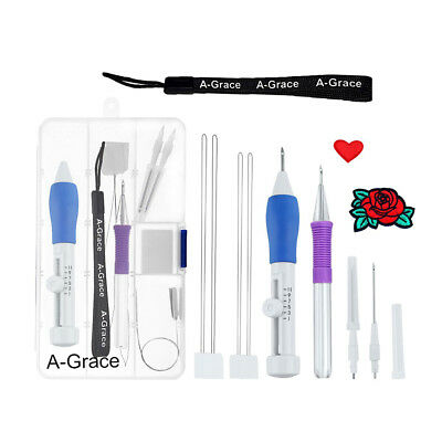 1 Set 3 Sizes Punch Needles Threaders Craft Tool Embroidery DIY Sewing Kit New