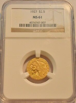 1927 $2.50 NGC MS 61 Gold Indian Quarter Eagle, Uncirculated 2 and 1/2 Type Coin