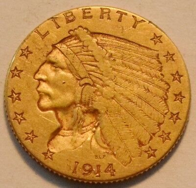 1914 D $2.50 Gold Indian Quarter Eagle, Higher Grade 2 and 1/2 Coin Better Date