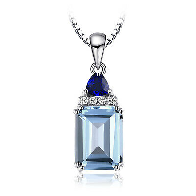 JewelryPalace 1.5ct Genuine Sky Blue Topaz,Created Sapphire Pendant 925 Silver