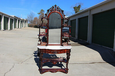 Gorgeous Walnut Victorian Rococo Pierce Carved Marble Top Etagere Dressing Table