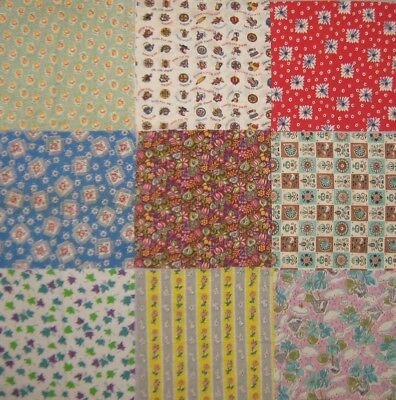"Vintage Feed Sack & Flour Sack - 10"" Squares-Lot of  13 pieces- Layer Cake"