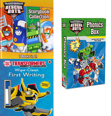 Transformers Rescue Bots,Phonics Box,Robots in Disguise 3 Books Collection Set