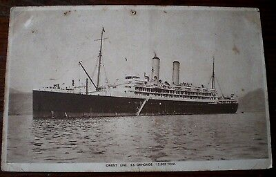 S.S. ORMONDE - ORIENT LINE WITH AUST STAMP Used Vintage Maritime Ships Postcard