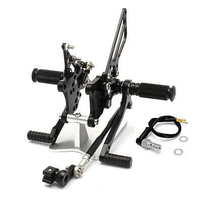 For Aprilia RSV1000R FACTORY CNC Rearset Foot Pegs 2004 to 2008 Anodized Black