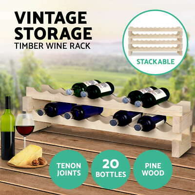Artiss 20 Bottle Timber Wine Rack Stackable Wine Stash Cellar Organiser Wooden