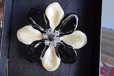 Flower Brooch  Black & White Enamel, Clear Shinning Stones for the Bud MIB