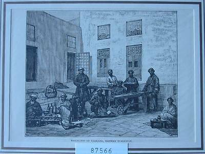 87566-Asien-Asia-China-Merchants Yarkand-Turkestan-T Holzstich-Wood engraving