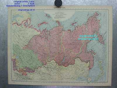 Asien-Asia-Russland-Russia-KARTE-MAP-Landkarte-48 x 36-Lithographie-Lithography