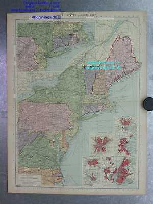 Nordamerika-North America-United States-KARTE-MAP-48x36-Lithographie-Lithography