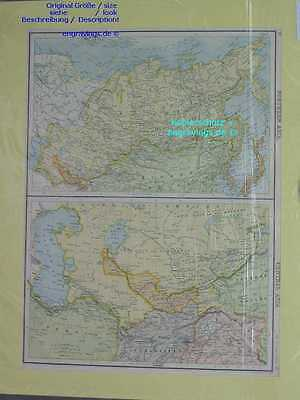 Russland-Russia-Turkistan-China-Landkarte-MAP-42x31-Lithographie-Lithography