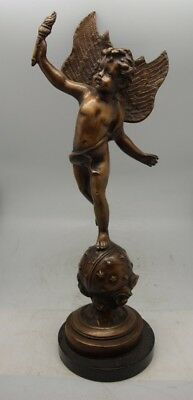 Lovely Bronze Sculpture - Winged Cupid / Cherub with Torch - Marble Base - 46cm