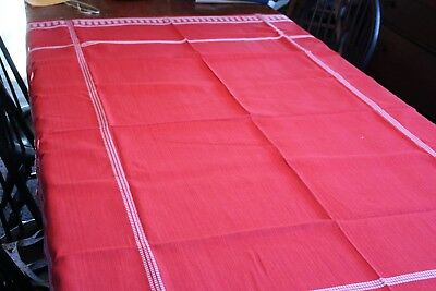 Vintage Red Tablecloth w White Trim 52x72