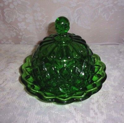 1880's Victorian EAPG Emerald Green Diamond Covered Butter Dish