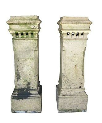 Large Matching Pair of Terracotta Victorian Chimney Pots - Garden Antiques