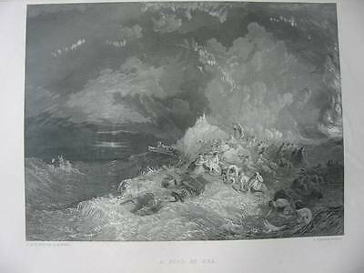 86896-William Turner-A Fire At Sea-Stahlstich-steel engraving
