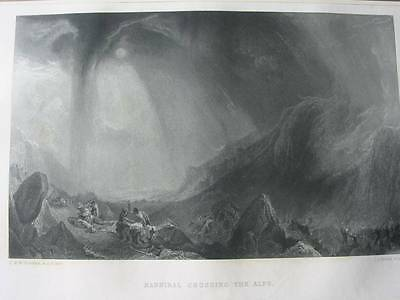 87035-Hannibal Crossing The Alps-Nach Turner-Stahlstich-steel engraving